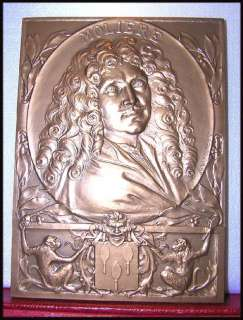 XL FRENCH PLAQUE ART DECO MEDAL MOLIERE THEATRE APE