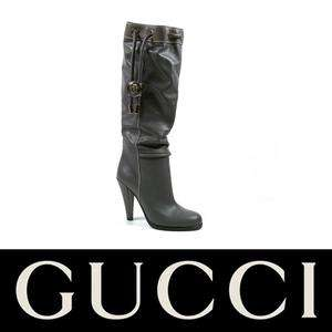 Gucci women knee high boots in grey leather Size US 5.5   IT 35½