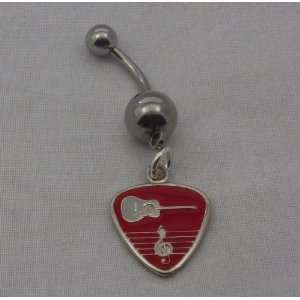 Belly Ring   Pick Red Enamel Acoustic MAAFR BR 15MM (F31