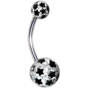 Black Glitter Star Belly Ring Jewelry