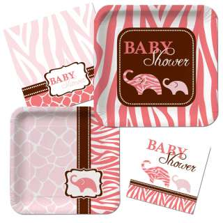 Wild Safari Pink Plates Napkins Girl Pink Animal Print Baby Shower