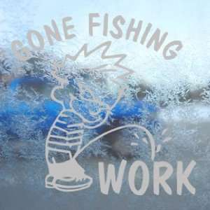 Funny Gone Fishing Gray Decal Car Truck Window Gray