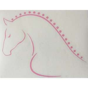 Sm Pink Line Art Braided Mane Horse Vinyl Car Decal Sticker   Left