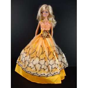 Golden Yellow Ball Gown with White and Black Lace and