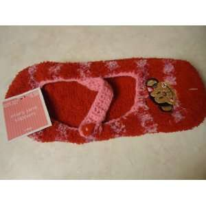 Red with light pink stripe Micro soft Mary Jane Slipper