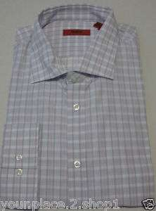 Hugo Boss Mens Enderson Pink & Gray Check Dress Shirt