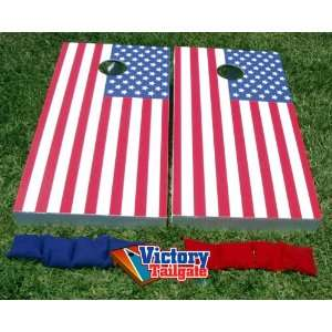 American Flag USA Cornhole Bean Bag Game Set Toys & Games