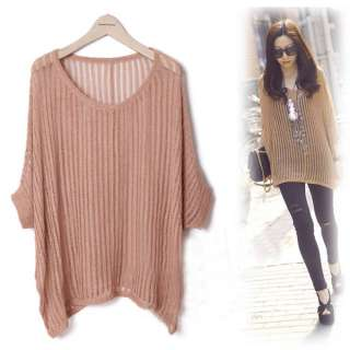 Women Round Neck Long Sleeve Knit Sweater Top Brown Thin 1024
