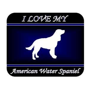 I Love My American Water Spaniel Dog Mouse Pad   Blue