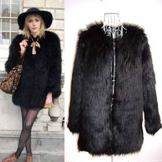 Trendy Black Faux Fur Winter Coat long Jacket 4cm long hair