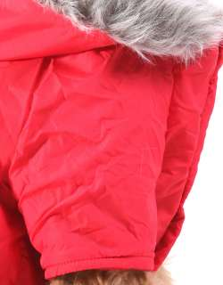 Red Warm Coat Hoodie Jacket Dog Clothes Apparel New
