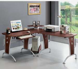 New L Shape Computer Desk Workstation Corner Work Station Table Shelf