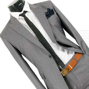 Mens Premium Slim Fit Dress Suit GREY (SZ 34/38R) 06