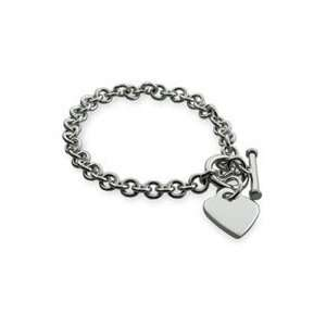 Engravable Engravable Sterling Silver Heart Tag Bracelet Jewelry