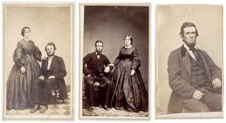 1860s Civil War Era, 3 CDVs Lincoln Look Alikes