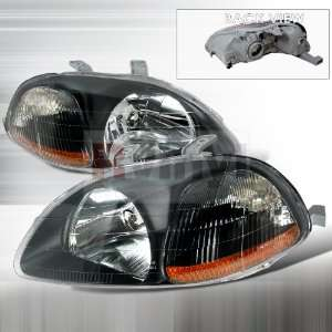 Honda Civic 1996 1997 1998 Euro Headlights   Black Ultra