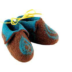 Wool Magical Steps Brown and Blue Baby Booties (Nepal)