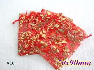 Red /gold Rose Organza Wedding Favor Gift Bags Pouches/ Premium