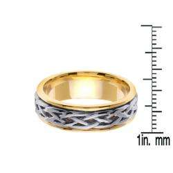14k Two tone Gold Mens Celtic Design Wedding Band