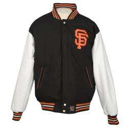 JH Designs Mens San Francisco Giants Reversible Wool Varsity Jacket