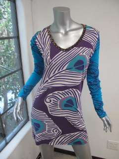Custo Barcelona Multi Color Printed Lurex Woven Neck Long Sleeve Mini