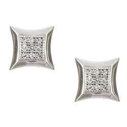 10k White Gold Square Diamond Earrings (K, I2)