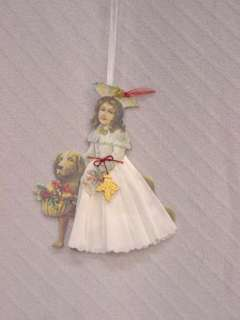 HAND MADE VINTAGE CHRISTMAS ANGEL DOG DIE CUT ORNAMENT
