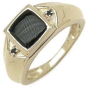 20 Carat 14K Yellow Gold Plated Sterling Silver Genuine Black Onyx