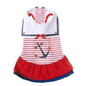 Sailor Nautical Dog Dress  Red (PADS) Size XS Pet