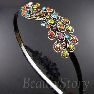 SHIPPING antiqued rhinestone crystal peacock hair band headband