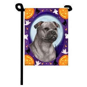 Staffordshire Bull Terrier Blue Halloween Garden Flag
