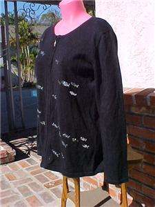 NWT NEW STORYBOOK KNITS BLACK CARDIGAN SWEATER S SILVER WAVE SEQUINS