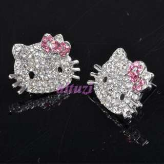 Cute Hello Kitty earring earbob pink bow ME8+gift box
