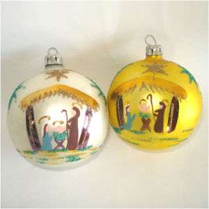 Poland Hand Painted Nativity Scene Christmas Ornaments