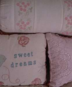 Simply Shabby Chic Accent Pillow Sweet Dreams Pink Cutwork or