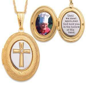 Two tone Memorial Cross Locket Pendant Jewelry