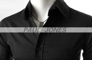 Polyester Luxury Mens Casual Formal Slim fitted Dress Shirts
