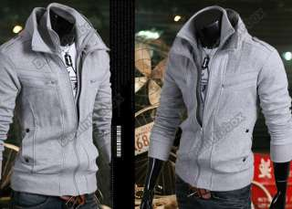 Mens Stylish Slim Hoodies Fit Double Zip Jackets Coats EZ976 3 Colors
