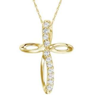 Swirl Diamond Cross Pendant Necklace 14k Yellow Gold