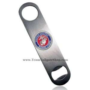 USMC Marine Corps Logo Bar Blade Bottle Opener with Pewter Emblem