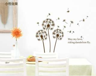 1PC Removable Dandelion Flower Tree Vinyl Decal Art DIY Wall/Fridge
