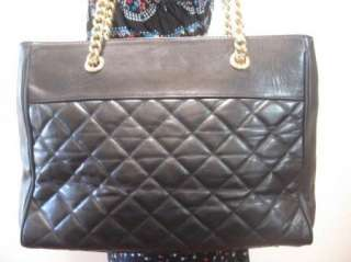 Vintage QUILTED Large Black Leather Tote Shoulder Bag Purse Fabulous