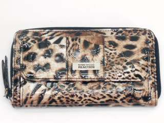 NEW KENNETH COLE REACTION SHINY LEOPARD ZIP AROUND CLUTCH WALLET NWT