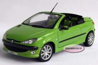 New Peugeot 206CC Open 118 Alloy Diecast Model Car With Box Green