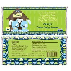 Twin Boy Puppy Dogs   Personalized Candy Bar Wrapper Baby