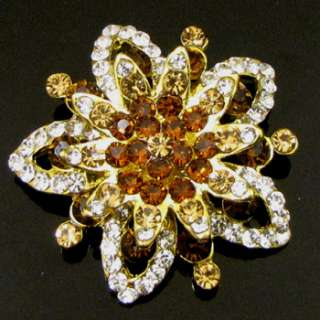 1pc Rhinestone crystal flower brooch pin wedding bridal