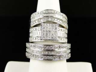 CT MENS LADIES PRINCESS CUT DIAMOND RING TRIO ENGAGEMENT WEDDING