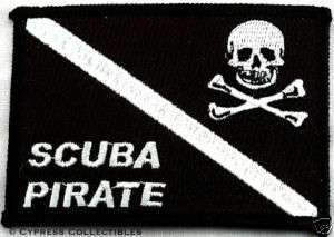 SCUBA DIVING EMBROIDERED PIRATE PATCH Jolly Roger Flag