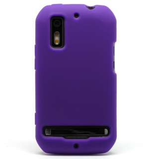 Purple Rubber Silicone Gel Soft Cover Case Sleeve for Sprint Motorola