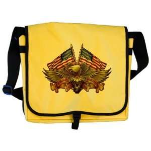 Messenger Bag Eagle American Flag and Motorcycle Engine